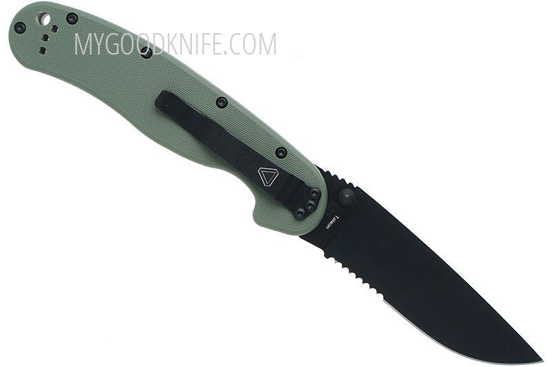Valokuva #2 Ontario RAT-1 Black Combo Blade, Green Nylon Handle (8847OD)