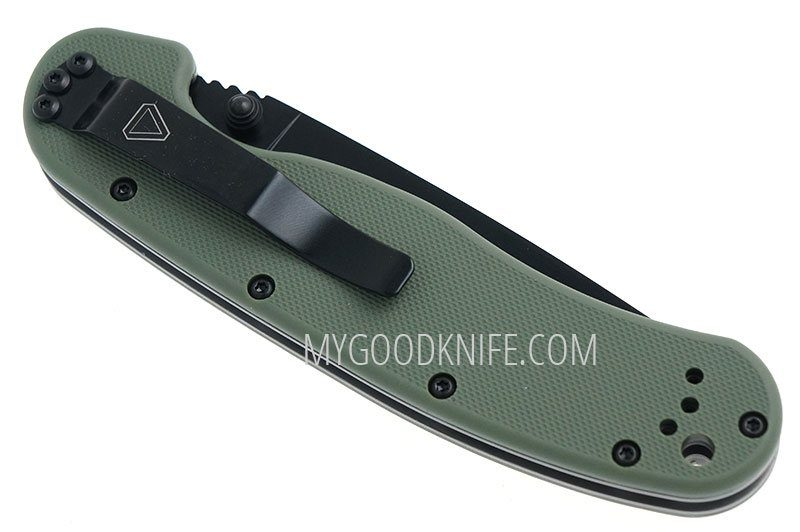 Photo #4 Ontario RAT-1 Black Combo Blade, Green Nylon Handle (8847OD)