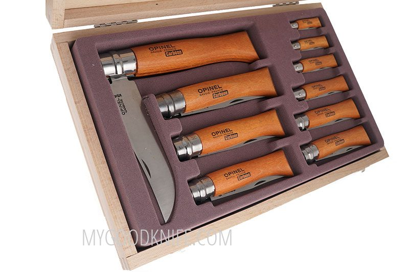 Photo #2 Opinel Carbon blade folding knives in gift box (183102)