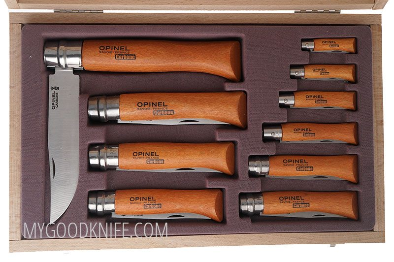 Photo #3 Opinel Carbon blade folding knives in gift box (183102)
