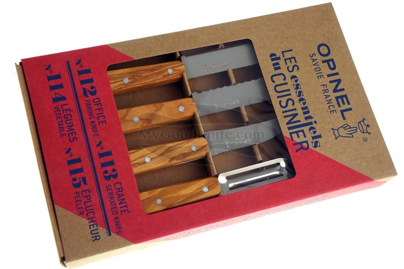 Photo #2 Kitchen knife set Opinel Olive 4 Essentials Box 002163