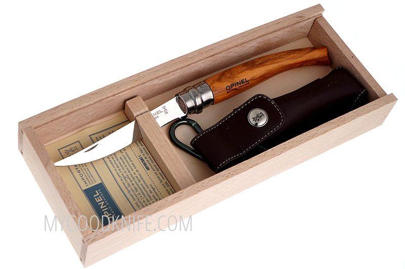 Photo #4 Opinel No10 Slim olive wood with Wood Box & Sheath (001090)