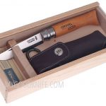 Фотография #2 Wooden slide top box Opinel Carbon No 8 with sheath (000815)