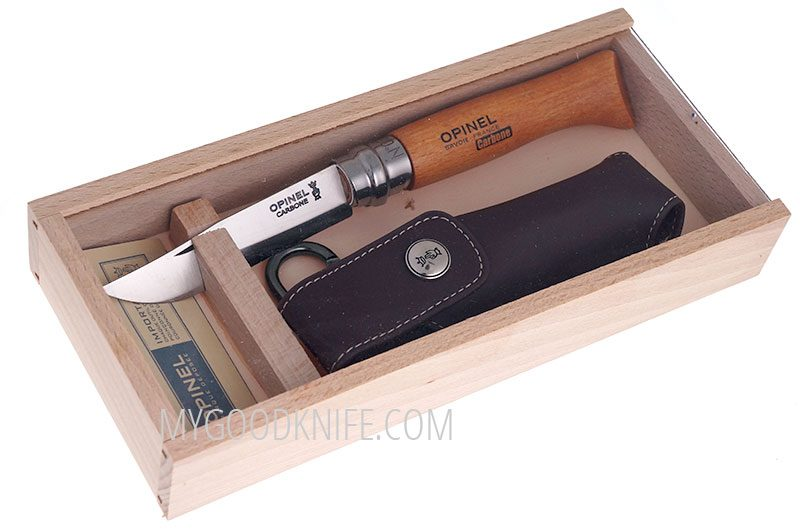 Photo #2 Wooden slide top box Opinel Carbon No 8 with sheath (000815)