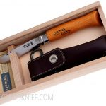 Valokuva #1 Wooden slide top box Opinel Carbon No 8 with sheath (000815)