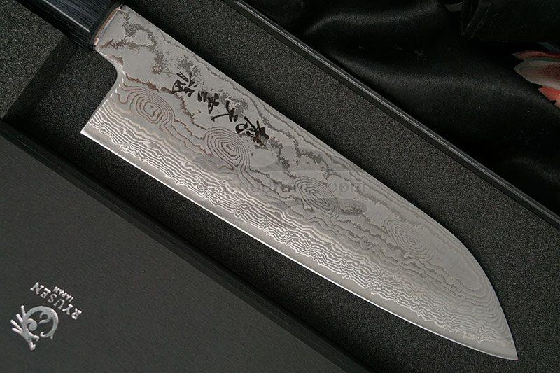 Photo #2 Santoku Japanese kitchen knife Ryusen Hamono Bonten Unryu BU307 17.5cm