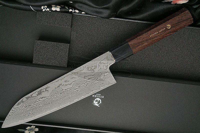 Photo #3 Santoku Japanese kitchen knife Ryusen Hamono Bonten Unryu BU307 17.5cm