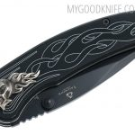 Valokuva #2 United Cutlery Nova Skull A/O Linerlock Pocket Knife, black, serrated  (UC2690S)