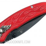 Valokuva #3 United Cutlery Nova Skull A/O Linerlock Pocket Knife, red, serrated  (UC2691S)