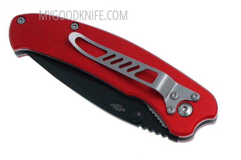 Photo #4 United Cutlery Nova Skull A/O Linerlock Pocket Knife, red, serrated  (UC2691S)