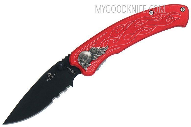 Photo #1 United Cutlery Nova Skull A/O Linerlock Pocket Knife, red, serrated  (UC2691S)