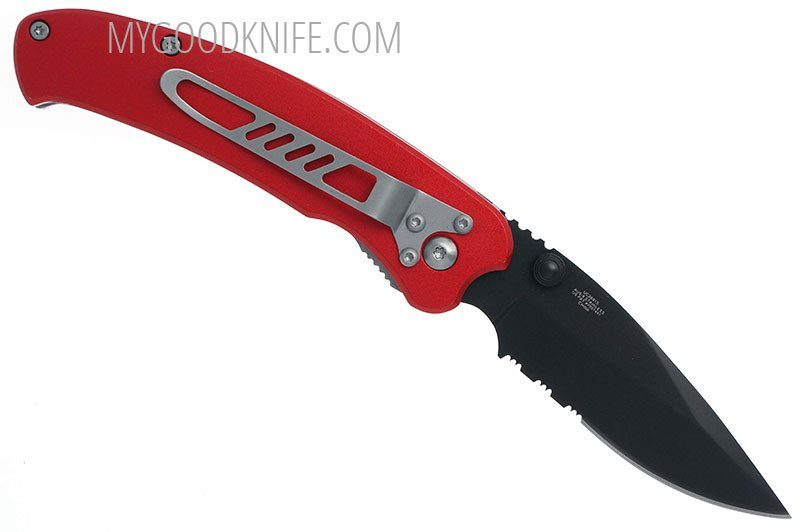 Photo #4 United Cutlery Nova Skull A/O Linerlock Pocket Knife, red, serrated  (UC2691S)
