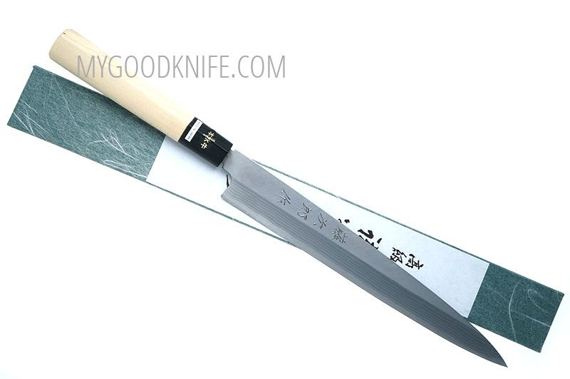 Фотография #1 Tojiro Aogami Damascus Yanagi Нож для сашими, 24 см (F-1020)