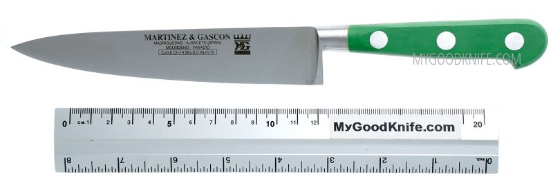 Photo #2 Utility chef's knife Martinez&Gascon  French Forged 15 cm (green handle) (4601)